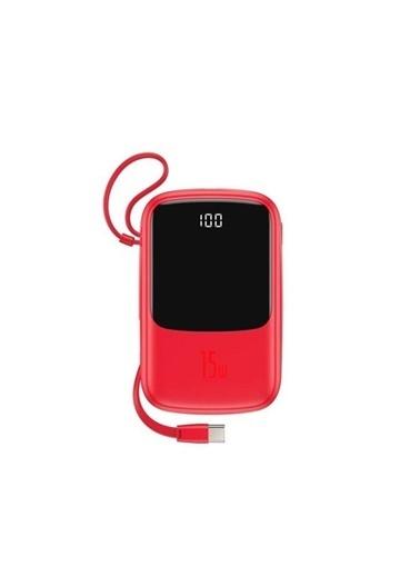 Baseus Q Pow 10.000 Mah Lightning Kablolu Powerbank (Ppqd-B09) Kırmızı Renkli